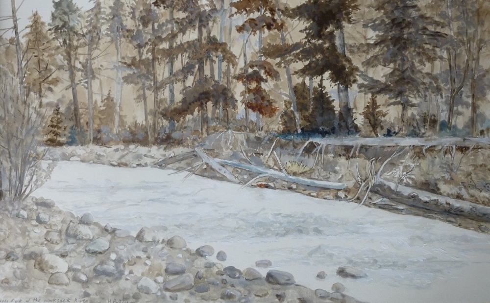 Nooksack River, watercolor and gouache on Rives paper, 10.5 x 17 inches