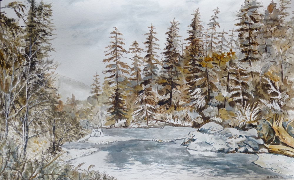Stillaguamish River in Late Fall, watercolor on Rives paper, 10.5 x 17 inches