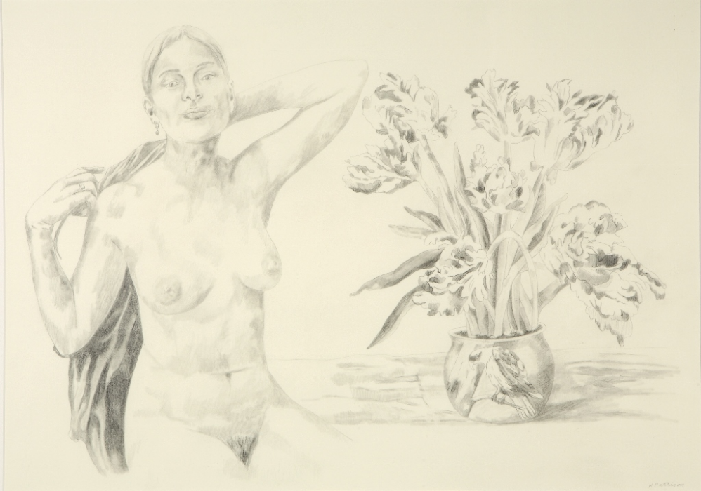 Woman in Her Bridal Chamber, graphite on Stonehenge paper, 19 x 28.5 inches