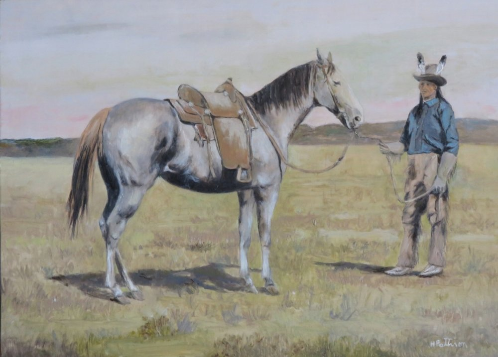 U.S. Calvary Scout and His Horse, 9.5 x 13 inches
