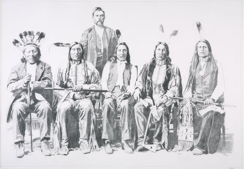 Indian Delegation on a Visit to Washington, D.C., graphite on Arches, 29 x 39 inches