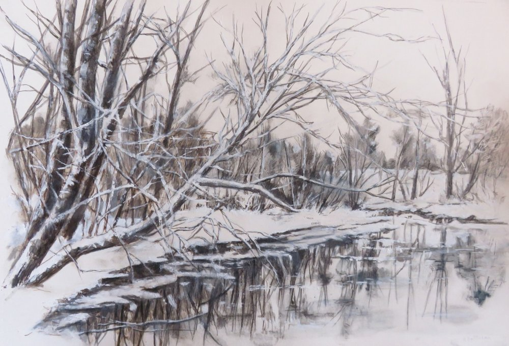River in Winter, watercolor on Arches, 11 x 15.5 inches