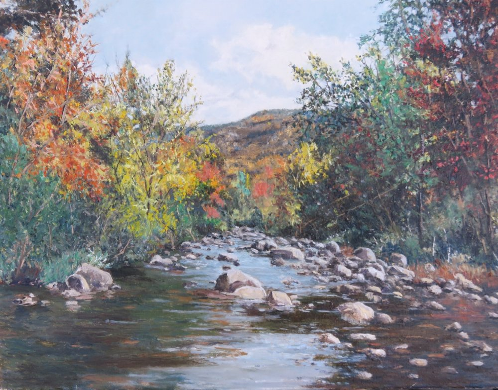 River in Early Fall, oil on linen, 17.25 x 23 inches