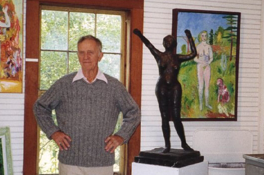 The sculptor in his Lincolnville, Maine studio, 1992.