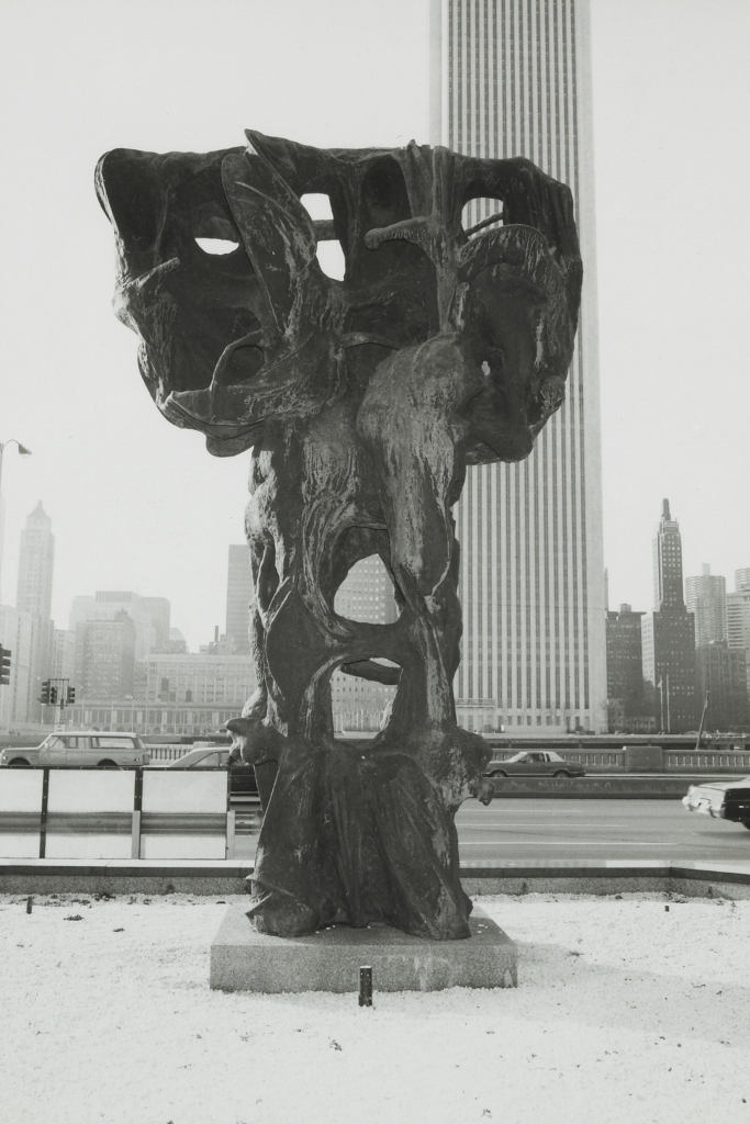 CITY TOTEM, collection location, on Lake Shore Drive. Chicago, Illinois.
