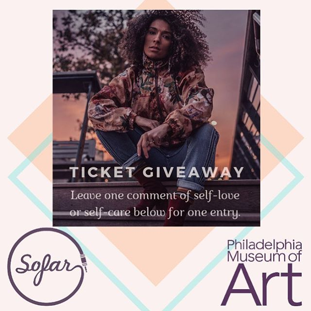 ✨giveaway!✨ Happy Monday, dreamboats! It's a tender time, and if you're as hard on yourself as I am on myself, we gotta knock it off.  I'm giving away two pairs of tickets: one one to our @sofarphilly show (+ a bottle of 🍷) this Sunday, 3/17, and one to the @philamuseum show on 4/5. Comment below with an affirmation of self-love/self-care to for an entry! 🥰🌸🤟🏾 Love y'all, brighter everyday.