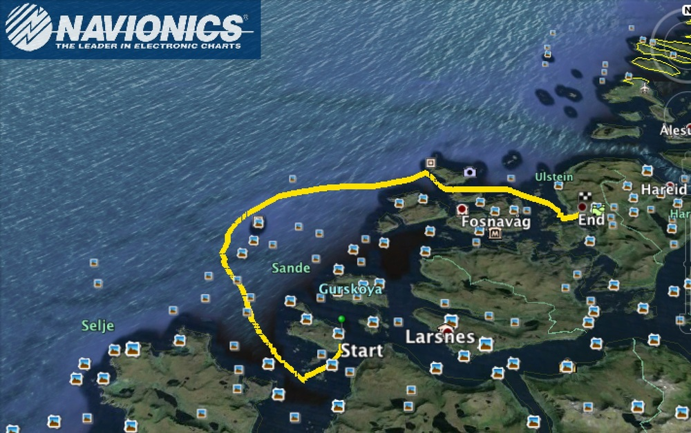 Lørdagens rute, fra Navionics via Google Earth. 35 nm.