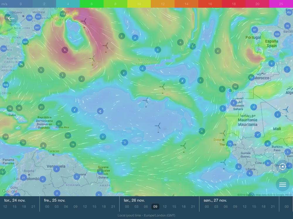 Uvanlig Atlanterhavsvær i slutten av november. Hvor er passaten?