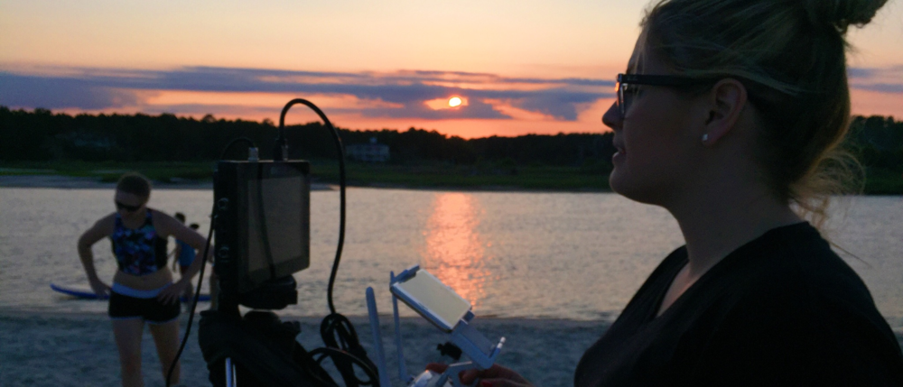 Holly Aurelia Operating a Sunset Shot in Myrtle Beach, SC.