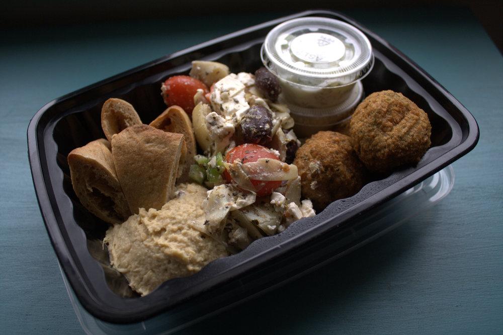 Greek Platter with Homemade Hummus, Greek Salad, and Falafel