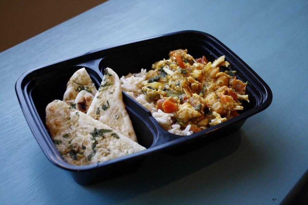 Indian Chicken Sambar with Brown Basmati Rice and Garlic Naan
