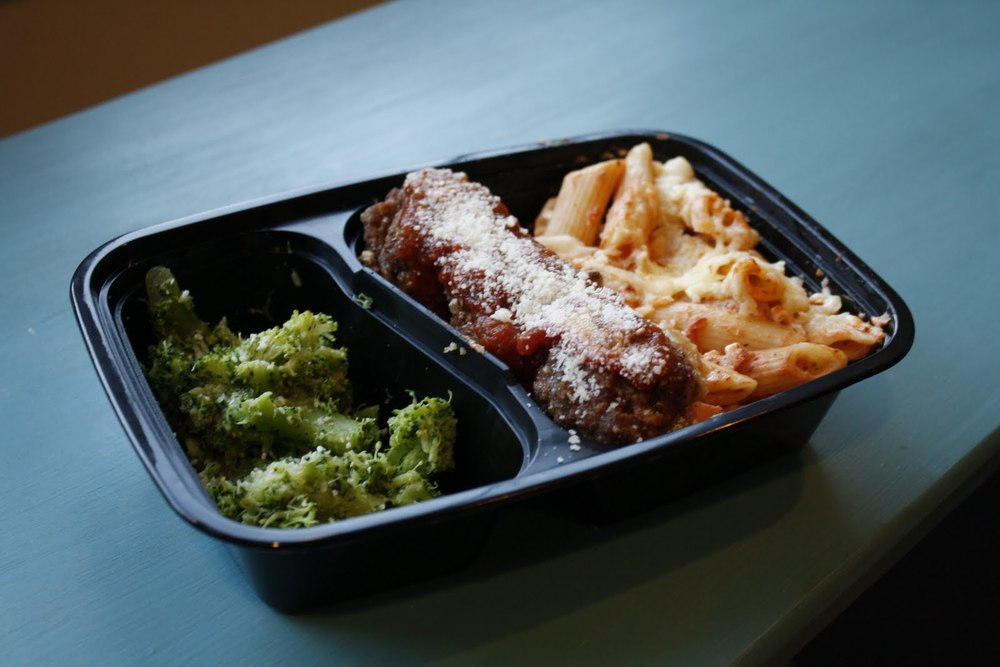 Baked, Organic Gluten-Free Ziti with Local Bison Meatballs and Organic Broccoli