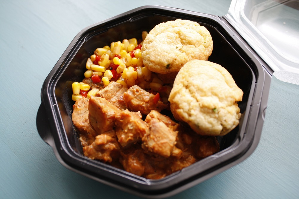 Smoked BBQ Pork Tips with with Red Pepper Corn and Corn Muffins One serving: 31g protein, 37g carbs, 22g fat
