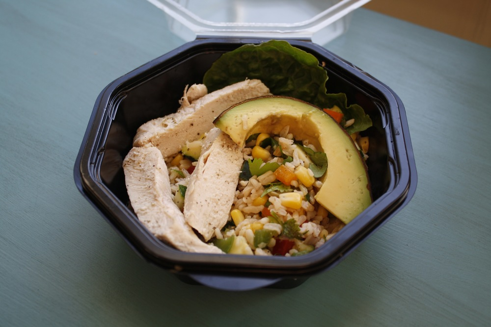 Salad with Brown Rice, Bell Peppers, Zucchini, and Poached Chicken.