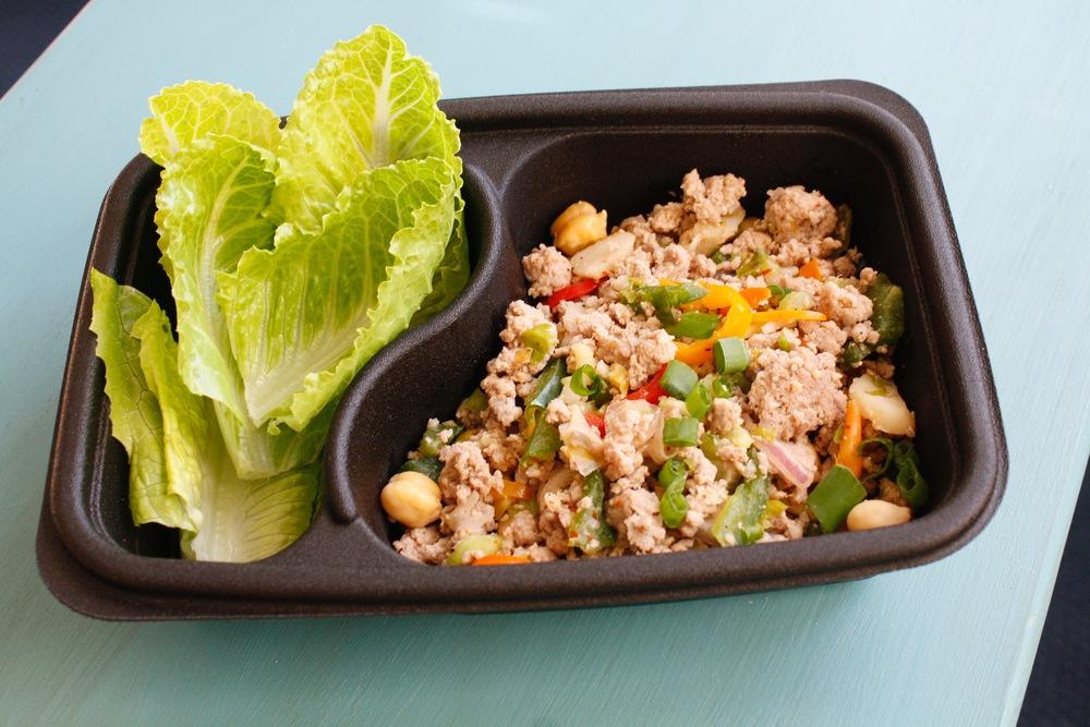 Thai Turkey Salad (Thai Guest Chef) One serving: 34g protein, 6g carbs, 13g fat (279 cal)