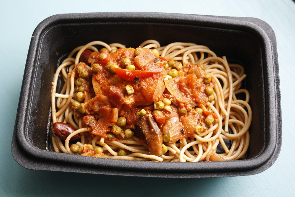 Chicken Cacciatore with Onions, Red Peppers, Peas, Kalamata Olives, Portobello Mushrooms, and Marinara Sauce over Wheat Noodles One serving: 29g protein, 45g carbs, 12g fat (397cal)