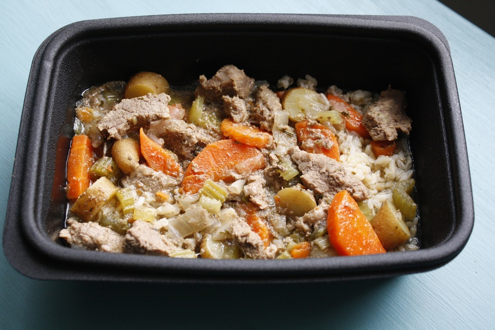 Steak Stew with Onions, Carrots, Celery, Potatoes, Rosemary, and Parsley over Basmati Rice One serving: 29g protein, 36g carbs, 23g fat (481cal)