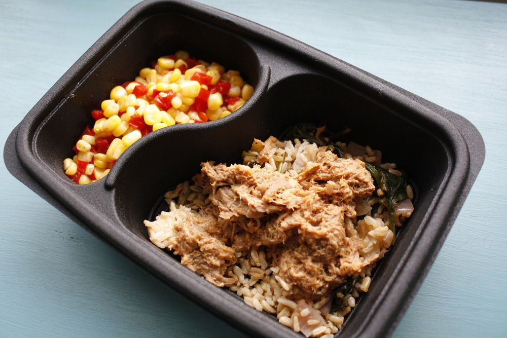 BBQ Hawaiian Pork over pineapples, onion, spinach and Basmati rice with corn and red peppers One serving: 30g protein, 70g carbs, 16g fat (543cal)