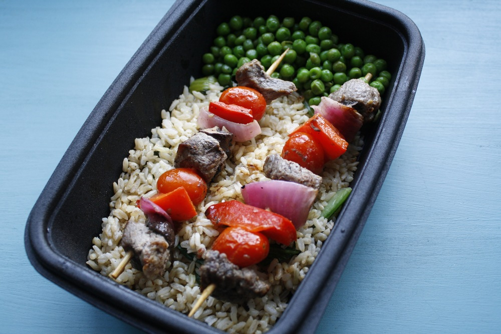 Steak Kabobs with Red Pepper, Red Onion, Mushrooms, & Grape Tomatoes over Basmati and Bok Choy Rice One serving: 34g protein, 73g carbs, 19g fat (609cal)