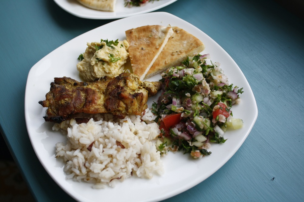 Sonia's Family Style Lebanese Platter with Chicken, Tabbouleh, Hummus, Pita, and Savory Almond Rice One serving (assuming 6 servings): 29g protein, 63g carbs, 29g fat (637cal)