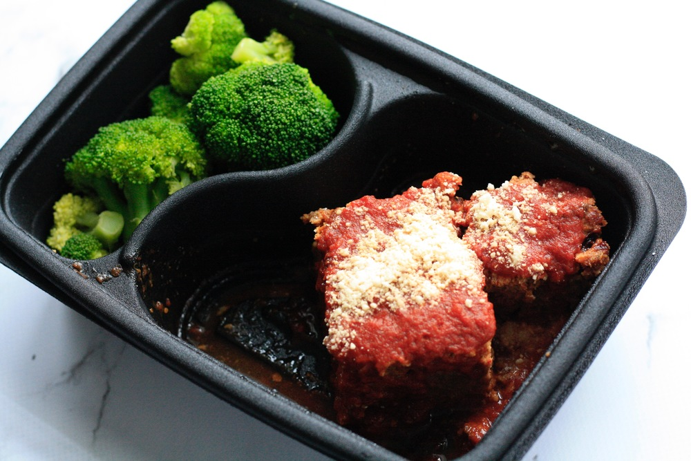 Bison Meatloaf with a side of Broccoli Ingredients: Local bison, broccoli, marinara sauce (tomatoes, olive oil, salt, pepper, basil, oregano), parmesan, bread crumbs, eggs, salt, pepper, oregano, basil, garlic powder One serving: 38g protein, 12g carbs, 6g fat (361cal)