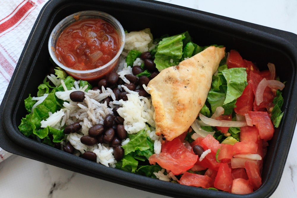 Latin Salad with Chicken and Pico de Gallo Ingredients: Organic local chicken, romaine, tomatoes, onions, cilantro, white basmati rice, black beans, salsa