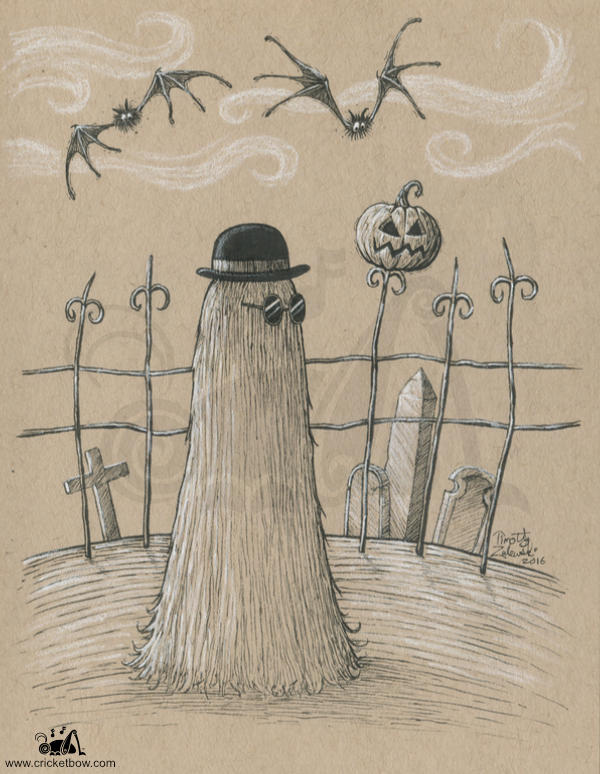 Cousin Itt from the Addams Family on toned paper