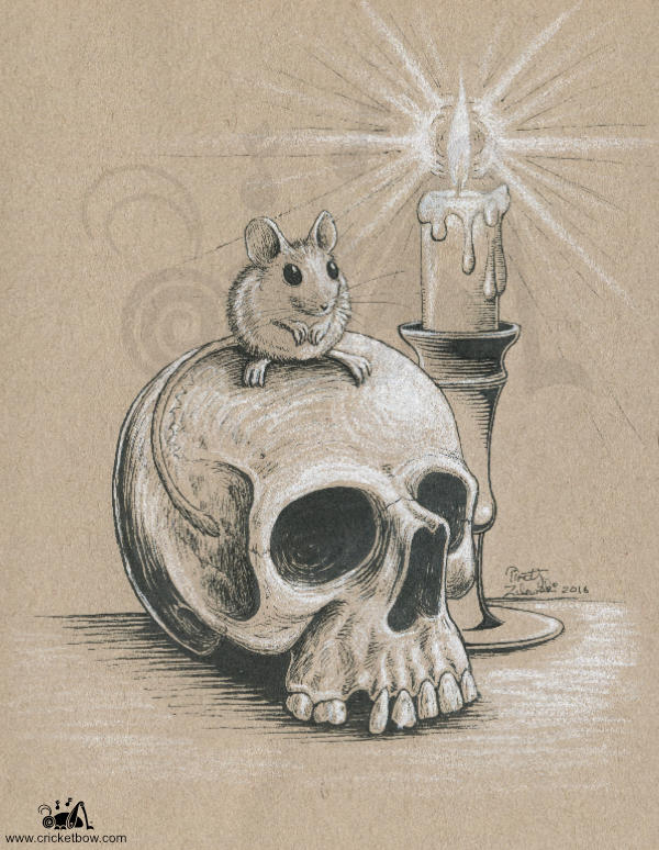 Mouse sitting on skull on toned paper