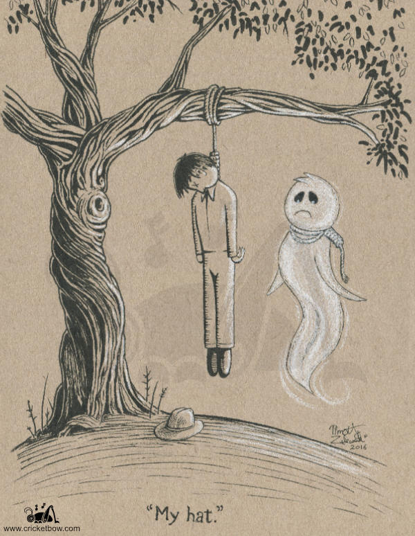 Hanged man and his ghost on toned paper