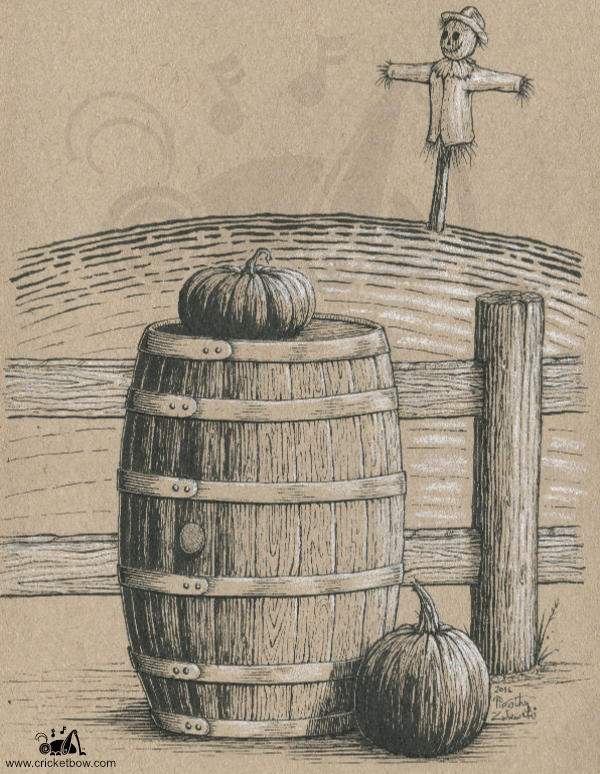 Barrel with pumpkins on toned paper
