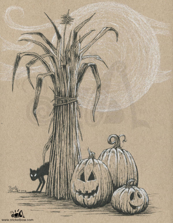 Jack O'Lanterns with cornstalk and black cat on toned paper