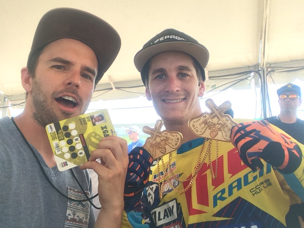 "Jarryd McNeil and I celebrating some Aussie Gold! Yes ESPN named me ""Seve Veals"" which sounded Scandinavian."