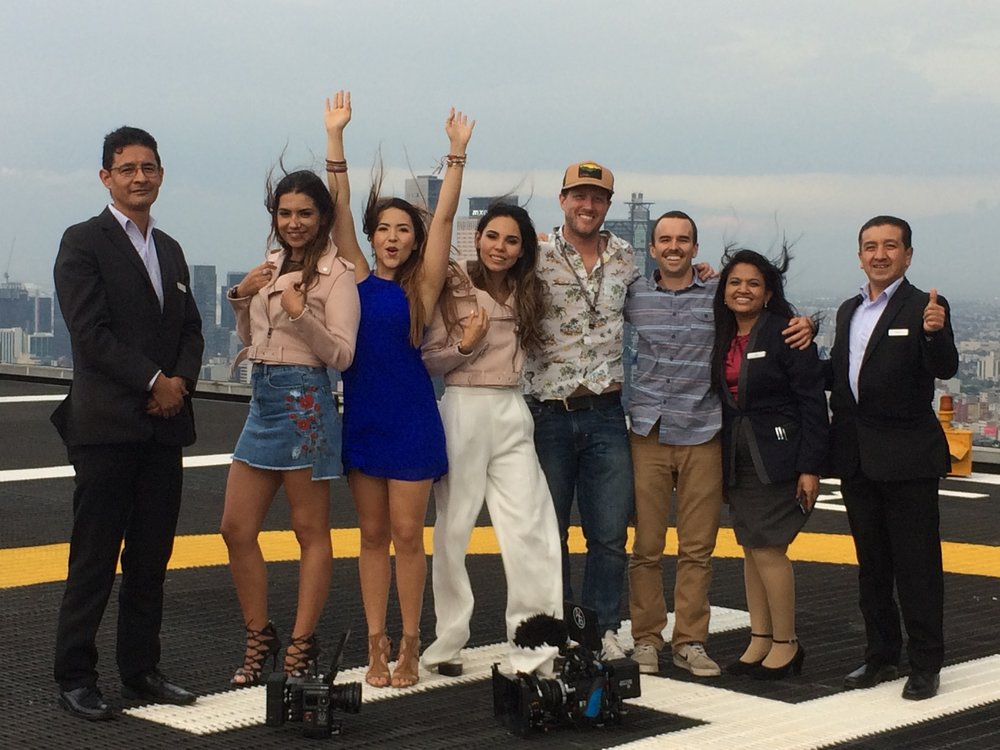 Our crew wrap photo on the helipad of the Hyatt Regency Mexico City!