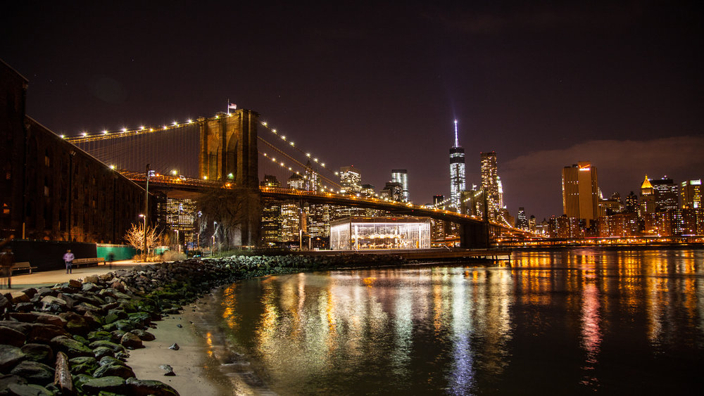 A still from a Brooklyn Bridge time lapse during a 2014 fashion shoot.