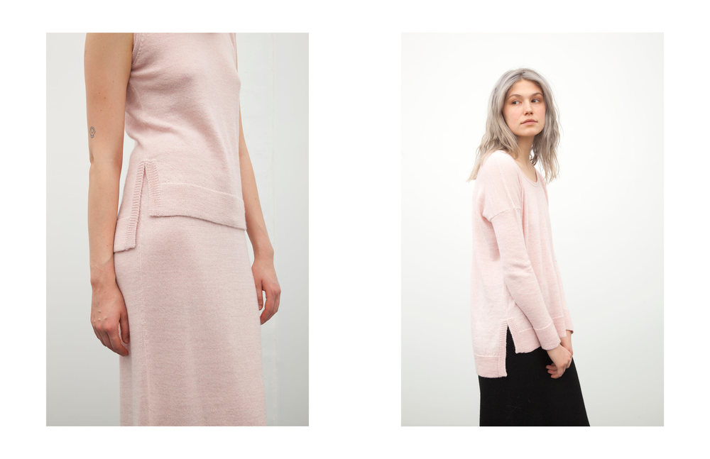 marcia tank: pink / kayla skirt: pink sally pullover: pink / kayla skirt: black