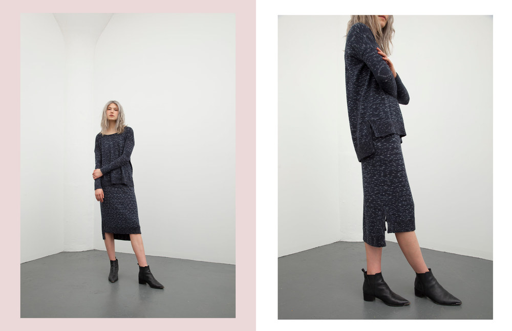 sally pullover: indigo / kayla skirt: indigo