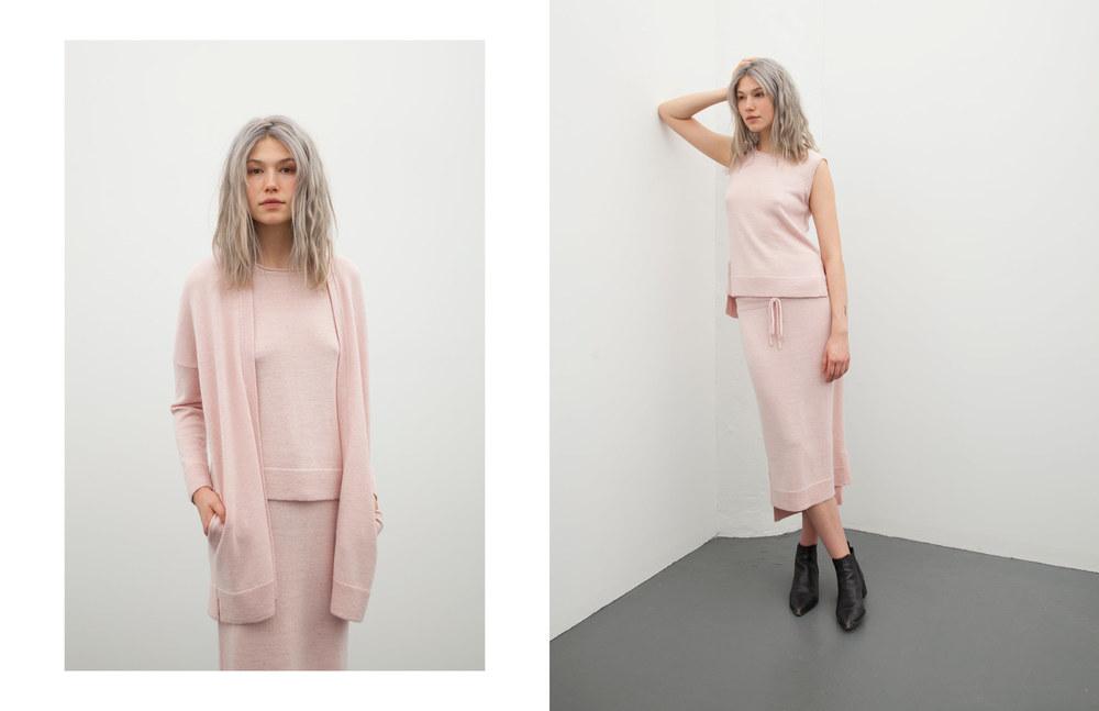 marcia tank: pink / kayla skirt: pink / anna cardigan: pink
