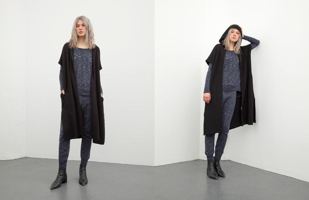 marybeth hoodie: black /marcia tank: indigo / roxanne pant: indigo