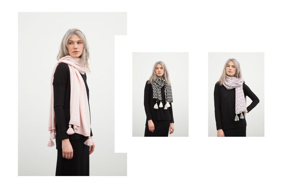 alanna scarf: pink / cristina scarf: black, pink sally pullover: black / kayla skirt: black