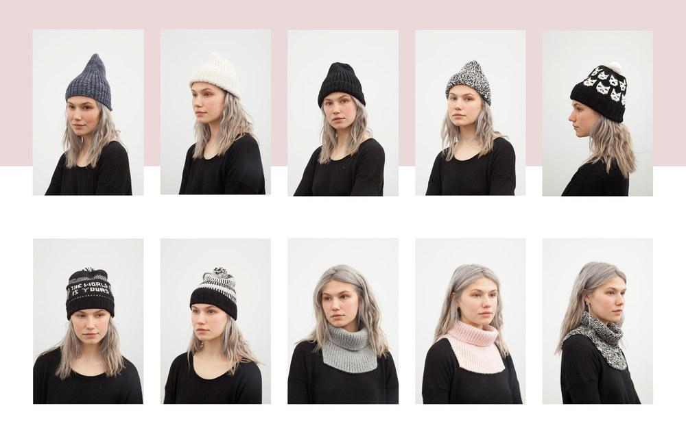 sara hat: indigo, crm, blk, pink, blk-crm marl / kitty hat: black / toni hat: black / hannah hat: black / patti cowl: grey, pink, blk-crm marl