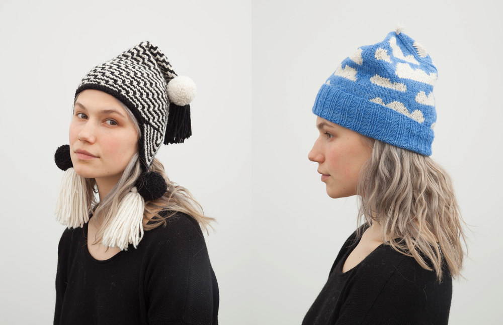 misti hat: black / skye hat: blue