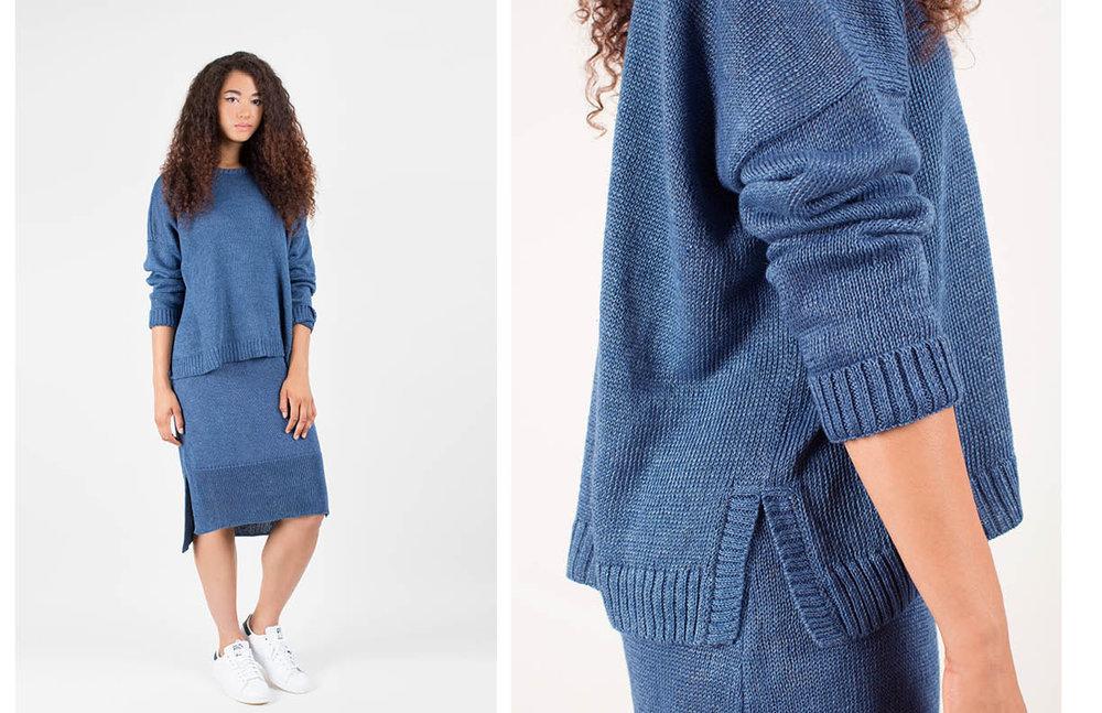 mitzi pullover: indigo / kayla skirt: indigo
