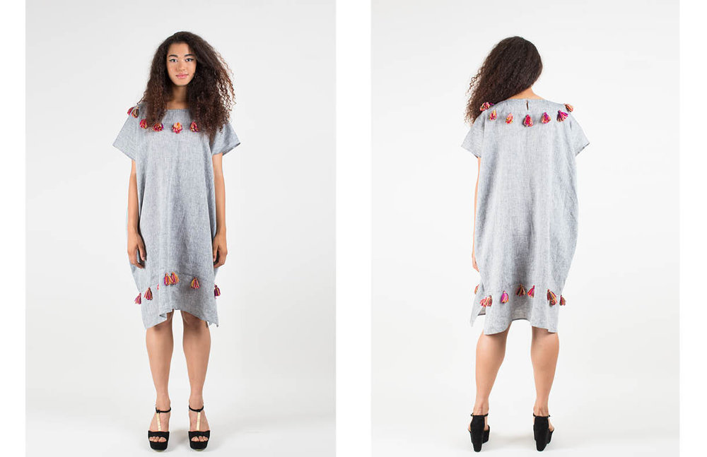 adele kaftan with tassels: light gray