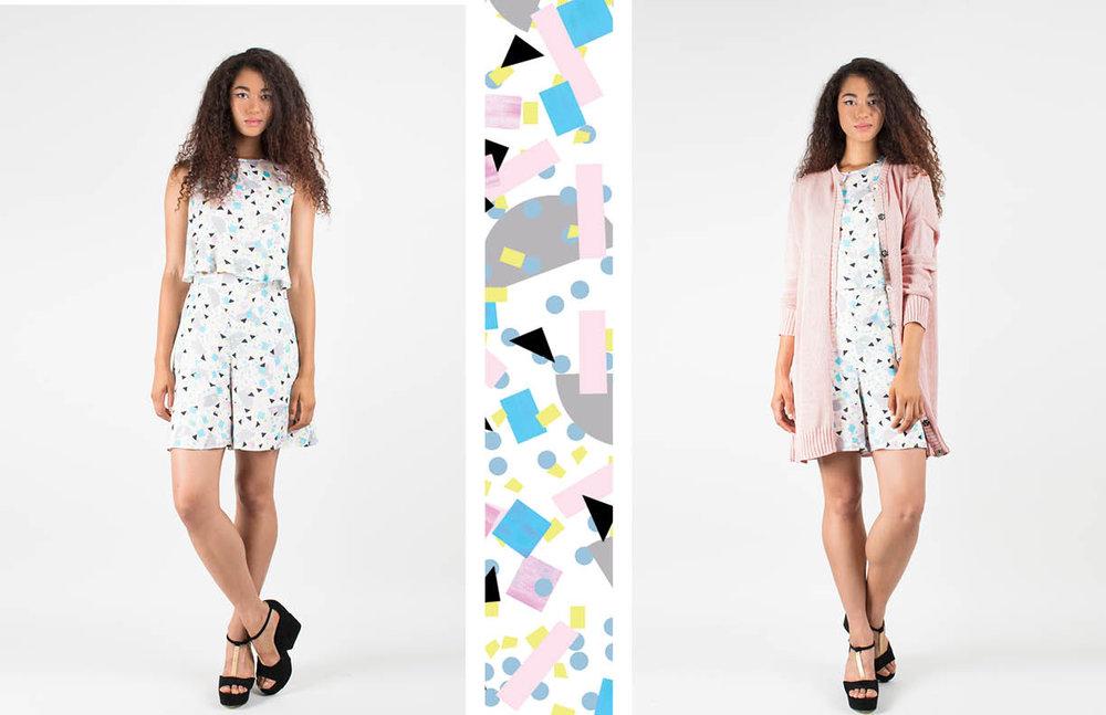 fleur top: confetti / odette shorts: confetti danielle cardigan: pink hand die