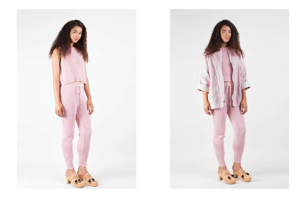 katie tank: pink metallic / roxanne pant: pink metallic pascale reversible: pink multi