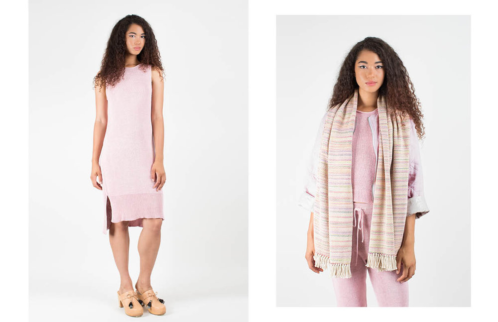 talie dress: pink metallic paloma scarf: paloma /katie tank: pink metallic / roxanne pant: pink metallic /pascale reversible: pink multi