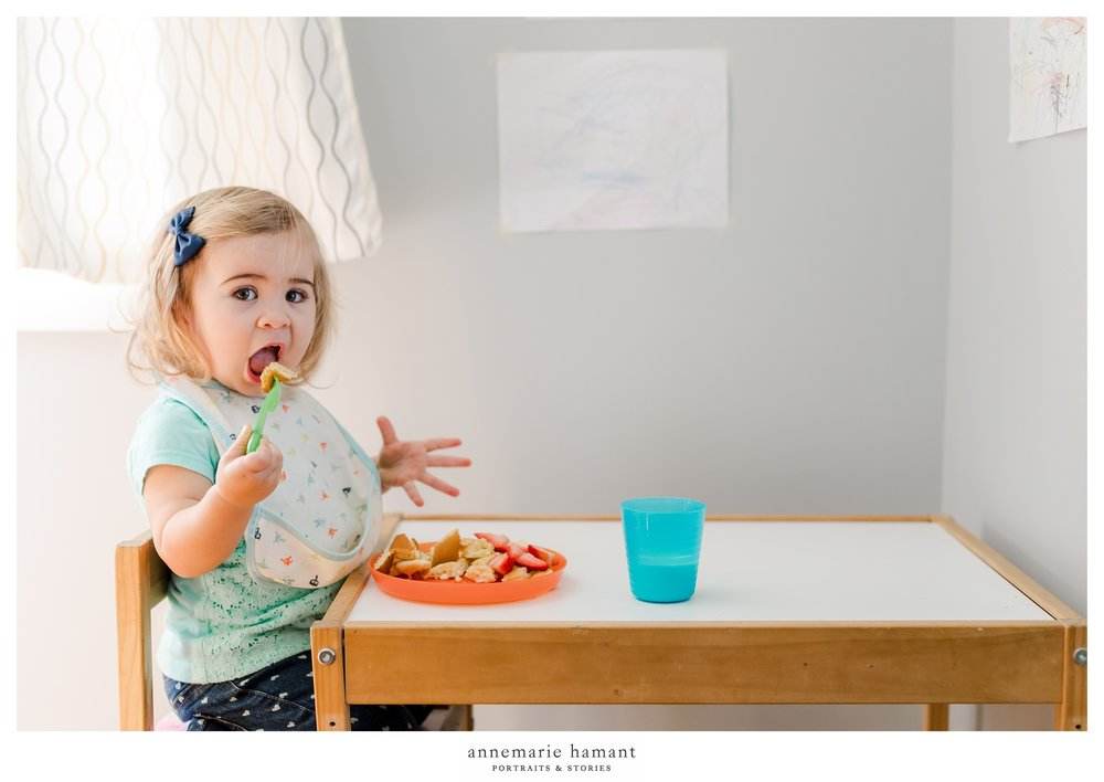 lehigh valley pa documentary photography of toddler eating pancakes