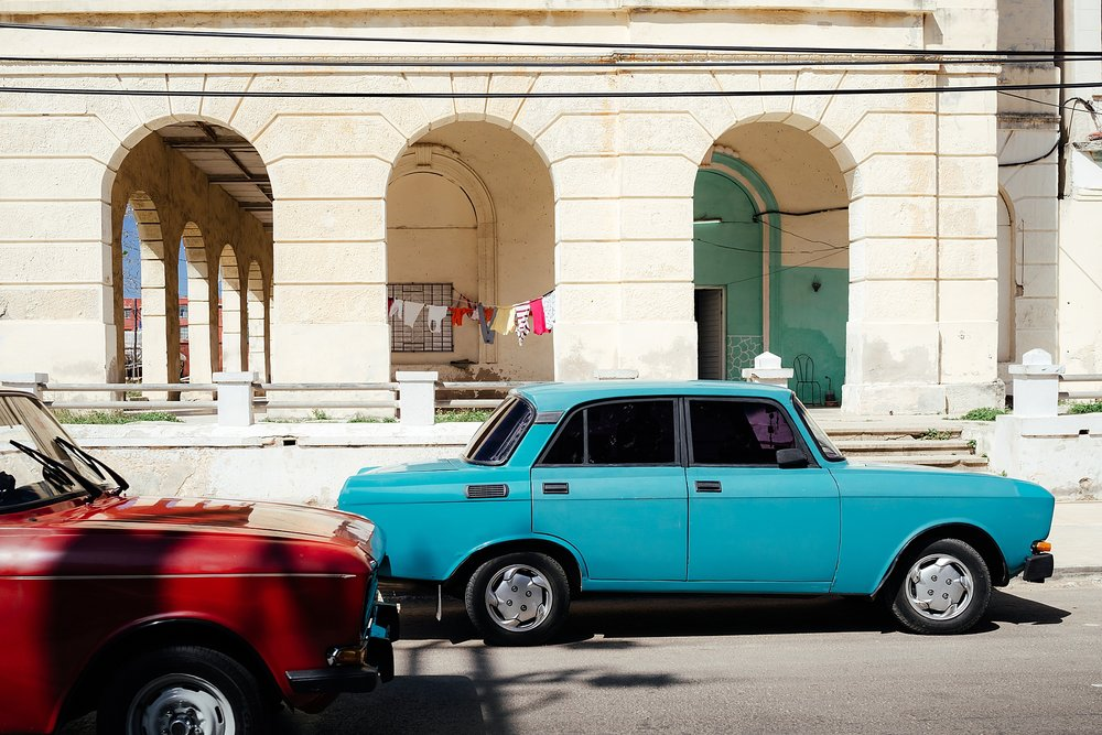 Bright cars in the Vedado neighborhood of Havana