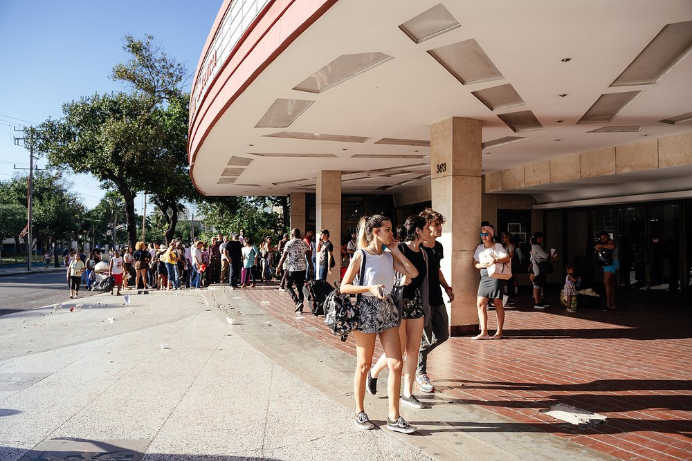 Lines form outside the famous Yara theater in Havana