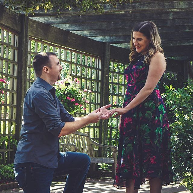 (1/3) // In less than one week these two love birds will be married! Can't wait to celebrate these two!! #wedigwedding  This photo is from the engagement photo shoot that I did with them last year @chicagobotanic .